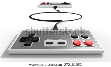 Two opposing vintage rectangular gaming controllers connected by their cords on an isolated studio background