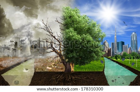 Two options / sides , eco concept, eco digital art - stock photo
