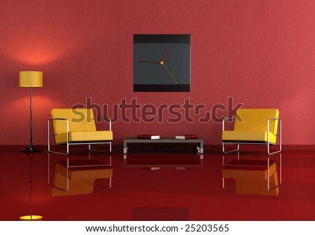 two orange armchair in a modern living-room