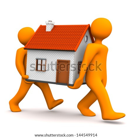 Two orange cartoon character carries a house. White background. - stock photo
