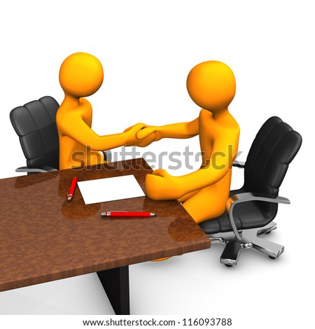 Two orange cartoon characters have a deal.White background. - stock photo