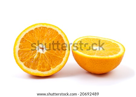 Two orange halves isolated on the white background