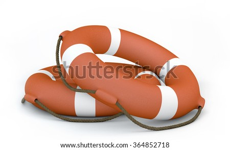 Two Orange Lifebuoy on white background