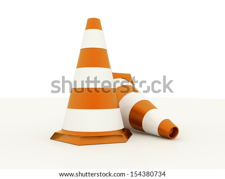 Two orange road cones rendered isolated on white background
