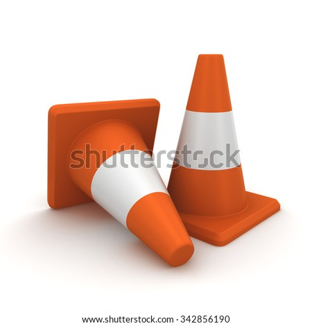 Two orange traffic cones. 3d render isolated on white background