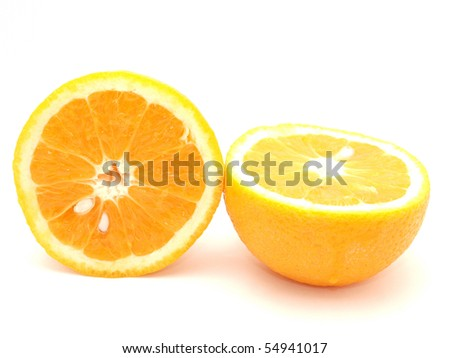 Two oranges on a white background