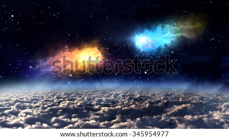 two orbit meteors almost crash in the space. - Elements of this Image Furnished by NASA