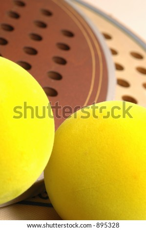 two paddles and balls detail - stock photo