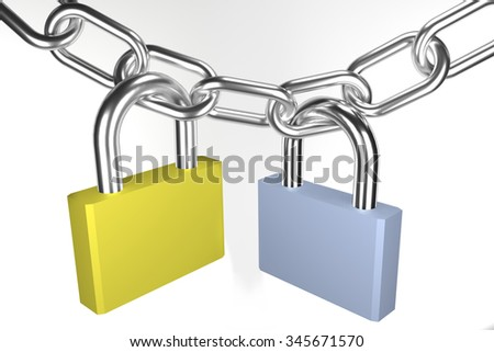 Two padlocks (blue and yellow) on metallic chain