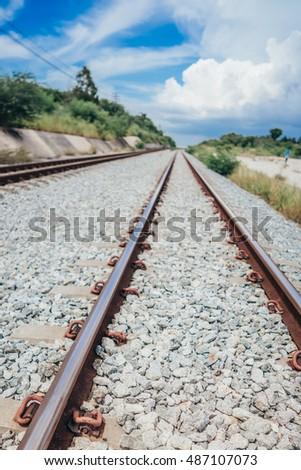 two pair railway trackstransportation stock photo 487107073