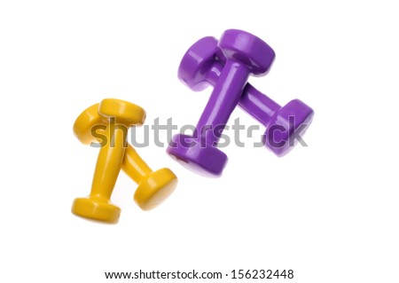 Two Pairs of dumbbells Isolated on white background - stock photo