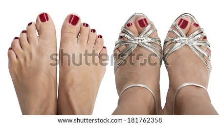 Two pairs of female legs on white . View from the top. - stock photo
