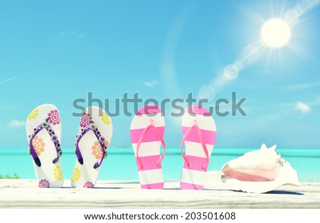 Two pairs of flip-flops and a shell against Atlantic. Exuma, Bahamas - stock photo