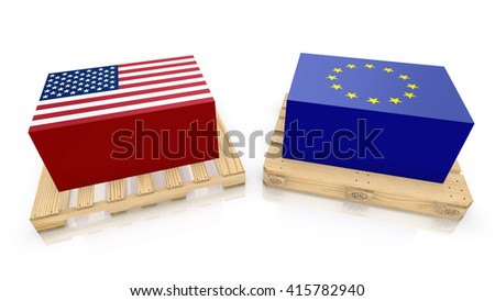 Two palettes , one american style with an american box and a eu standard wooden palette with a blue european crate 3D illustration