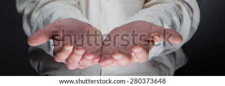 Two palm hands gesture of male hands - stock photo