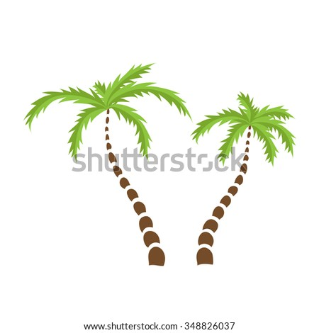 Two Palm trees, isolated illustration.