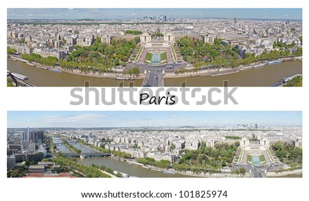 Two panoramic pictures of Paris from the Eiffel tower, France - stock photo