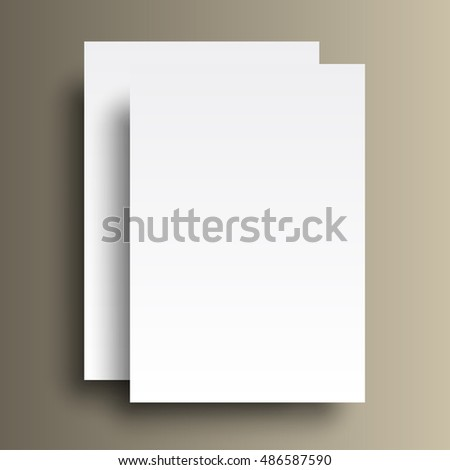 Two paper A4 mockup isolated on gold background. Raster copy of vector file.