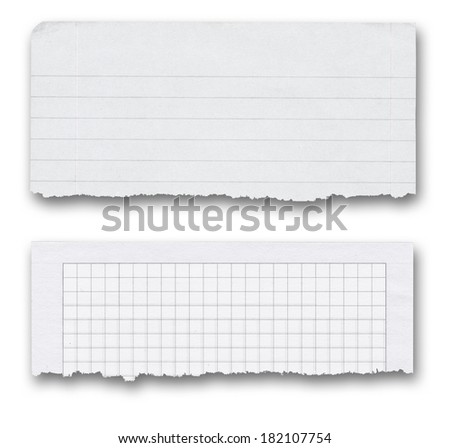 two paper banners with shadow over white, bottom edges are torn out and frayed - stock photo