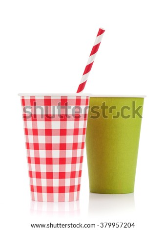 Two paper cups with takeaway drinks. Isolated on white background - stock photo