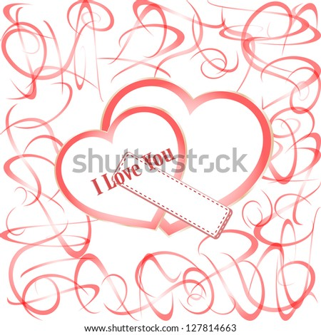 Two paper hearts. invitation card with place for text, raster
