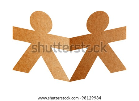 two paper human isolated on white background with clipping path - stock photo