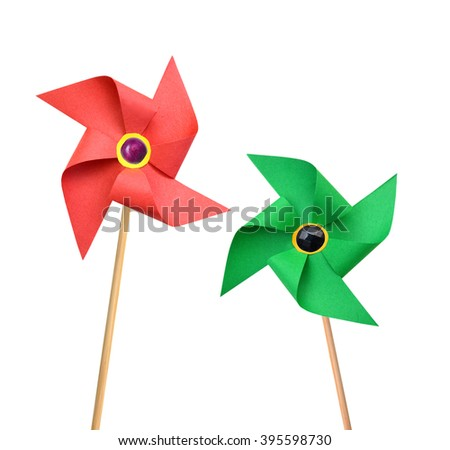 Two Paper pinwheels isolated on white background - stock photo