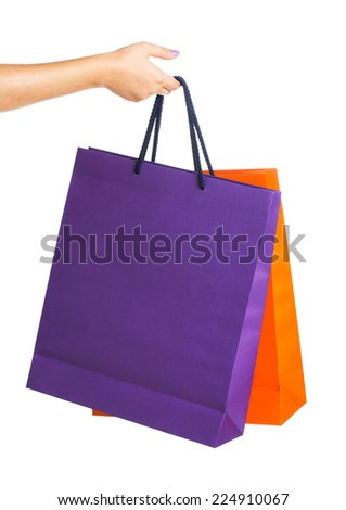 Two paper Shopping bags with reflection on white background