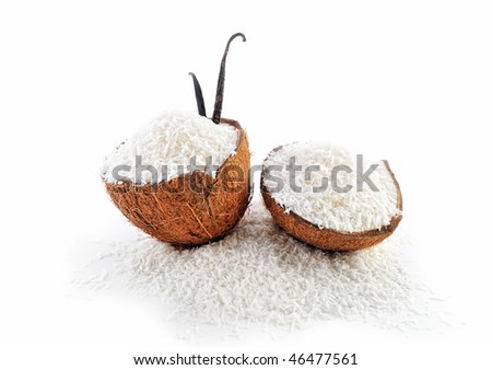 Two part of coconut parts is filled with crumbs - stock photo
