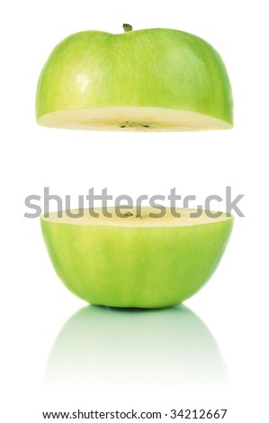Two parts of apple with copyspace between - stock photo