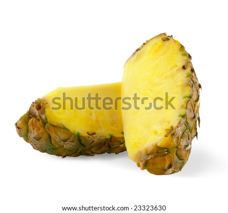 two parts of pineapple, isolated on white background, with light shadow