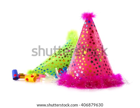 Two party hats on white background - stock photo