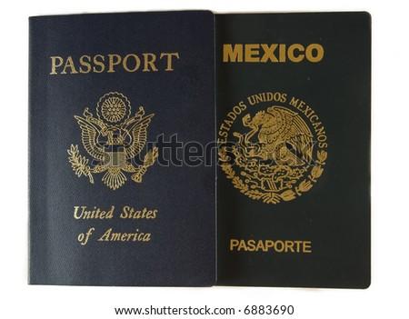Two passports - stock photo