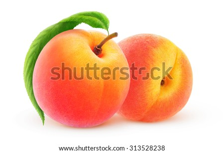 Two peach fruits with leaf isolated on white background, with clipping path - stock photo