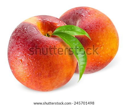 Two peaches with drops isolated on white - stock photo