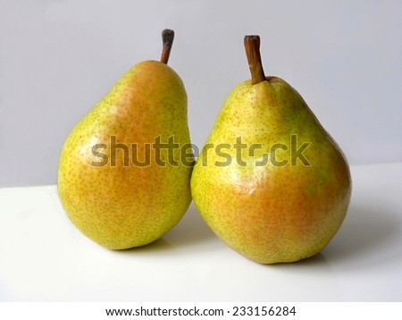 Two pears. Organic fruit. - stock photo