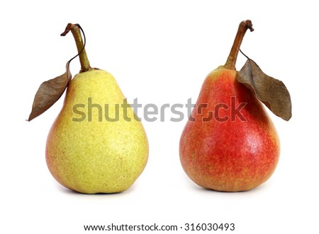 two pears with leaf isolated on white background