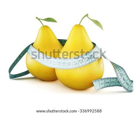 Two pears wrapped in meter isolated on white background. Conceptual image. 3d illustration. - stock photo