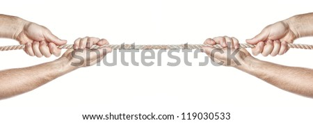 Two people are pulling a rope competing hands. On a white background.