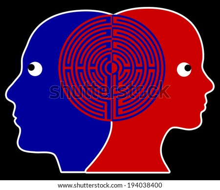 Two people being in sync or on the same wavelength which is practiced in psychotherapy - stock photo