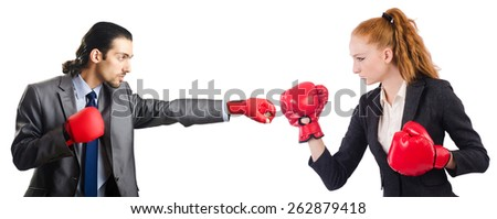 Two people boxing each other isolated on white - stock photo