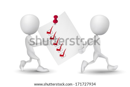 two people carried a check list - stock photo