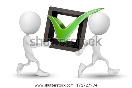 two people carried a check mark - stock photo