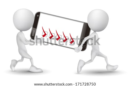 two people carried a mobile phone and check list - stock photo