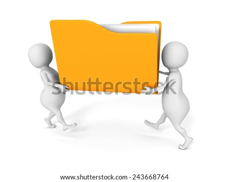 two people carry yellow office document paper file folder. 3d render illustration - stock photo