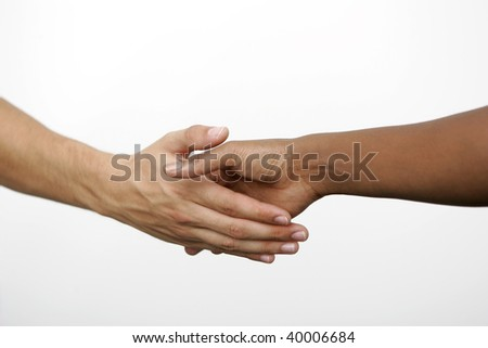 Two people doing handshake, isolated