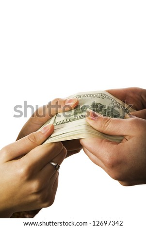 Two people holding huge sum of money