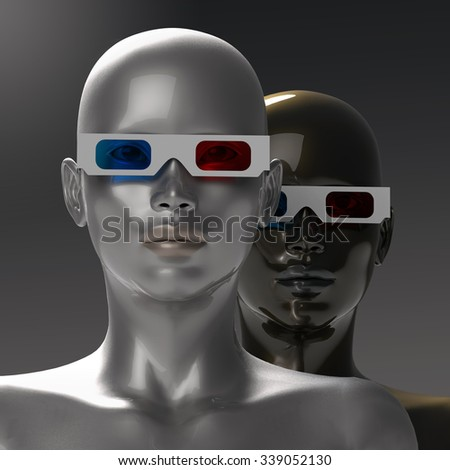 two people in stereoscopic glasses  - stock photo