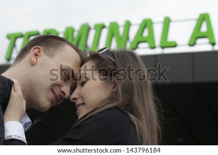Two people in the airport - stock photo