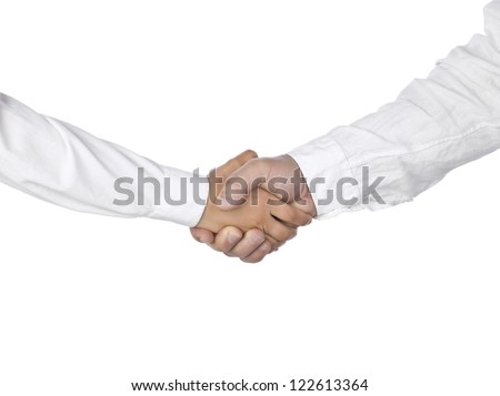 Two people in white sleeves' hand shaking over a white background